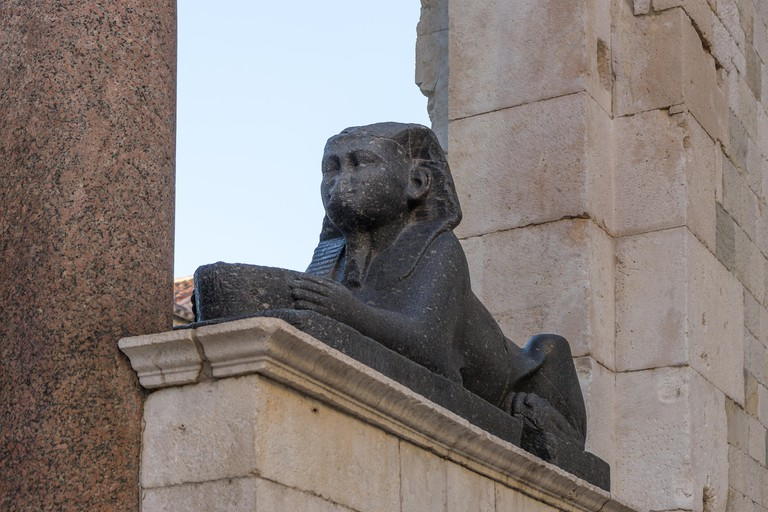 Black granite Egyptian sphinx statue at the Diocletian's Palace, Split
