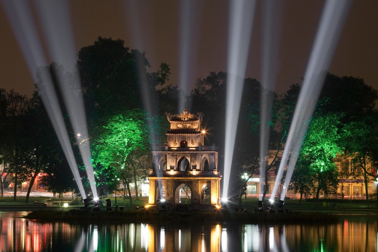 Turtle Tower, Hoan Kiem Lake, Hanoi, Vietnam, Southeast Asia, Asia