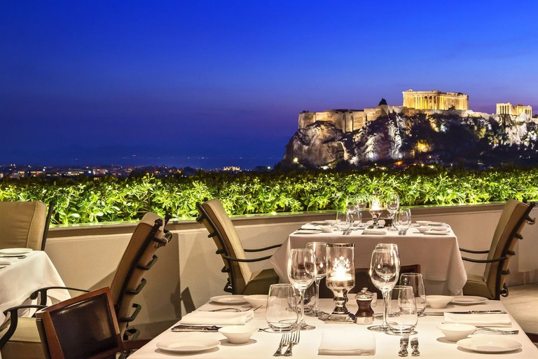 GB Roof Garden restaurant and bar at the Grande Bretagne Hotel, in Athens