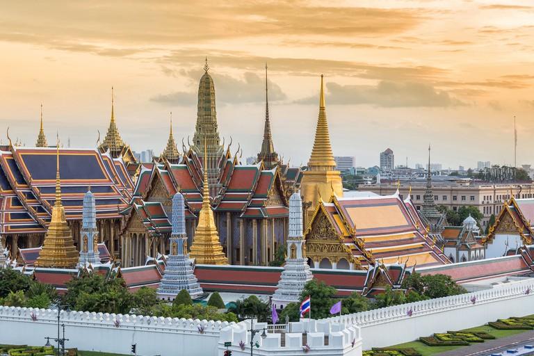 Grand palace and Wat Phra Keaw at sunset in Bangkok,Thailand. The beautiful landmark of Thailand.