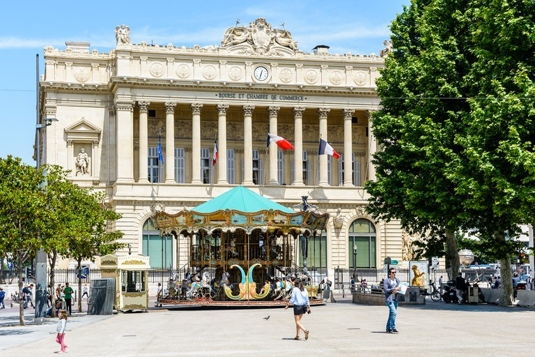 The Palais de la Bourse in Marseille, located on the Canebiere in Belsunce district, is the headquarters of the Chamber of Commerce and Industry and houses the Marine Museum.
