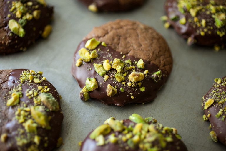 Gluten-free hazelnut cookies with chocolate and pistachios