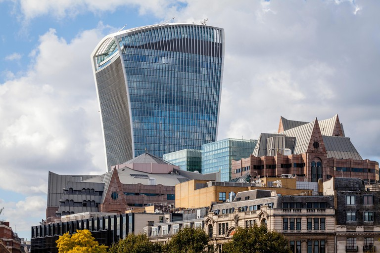 20 Fenchurch Street (The Walkie Talkie Building) and The City Of London Skyline, London, England