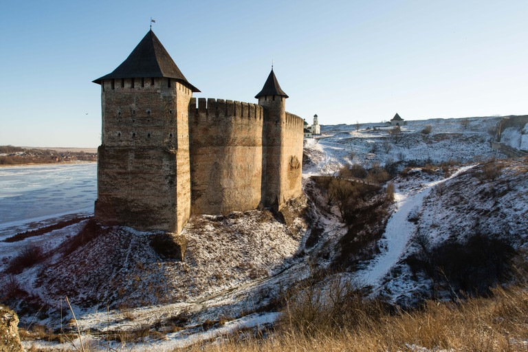 Winter view on ukrainian Khotyn Fortress on Dnister river, UKRAINE