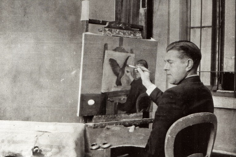 Magritte paints La Clairvoyance, a self-portrait of the artist painting