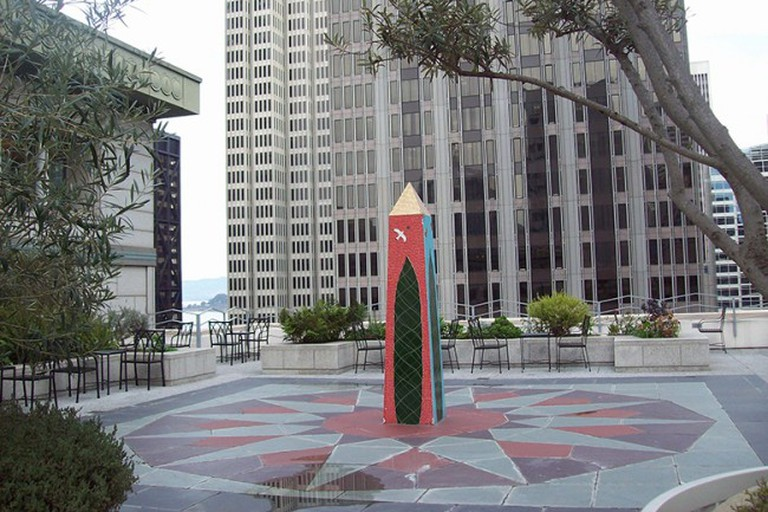 A stylized sundial graces a vast rooftop garden open to the public weekdays at 343 Sansome Street in San Francisco's Financial District.