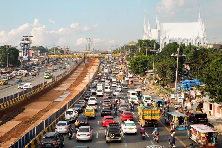 Commonwealth Avenue, connecting Quezon City and Manila