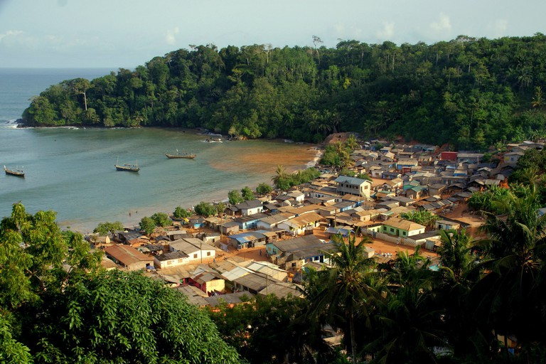 View at fishing village Butre in Ghana, 2018
