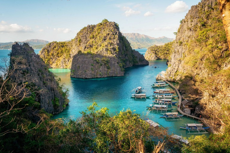 Areial view of bay, Coron island, Philippines