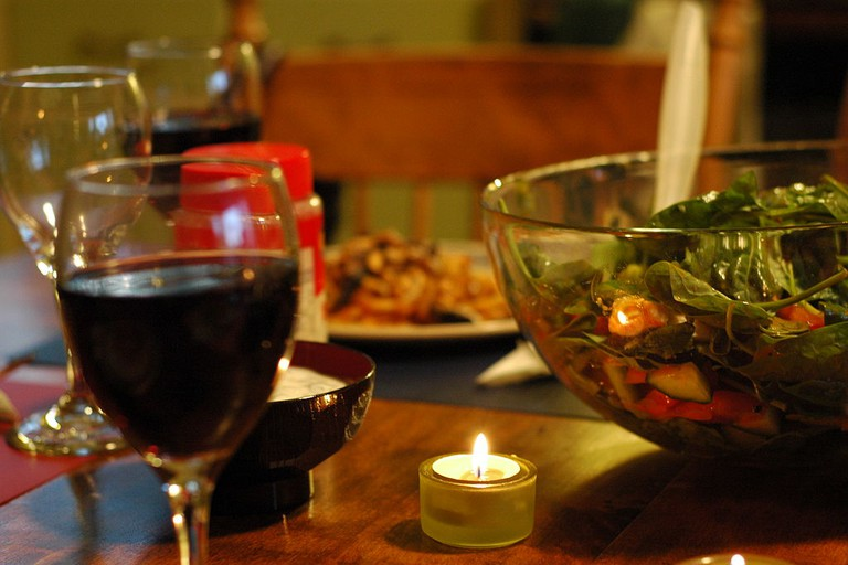 Moroccan salad and red wine