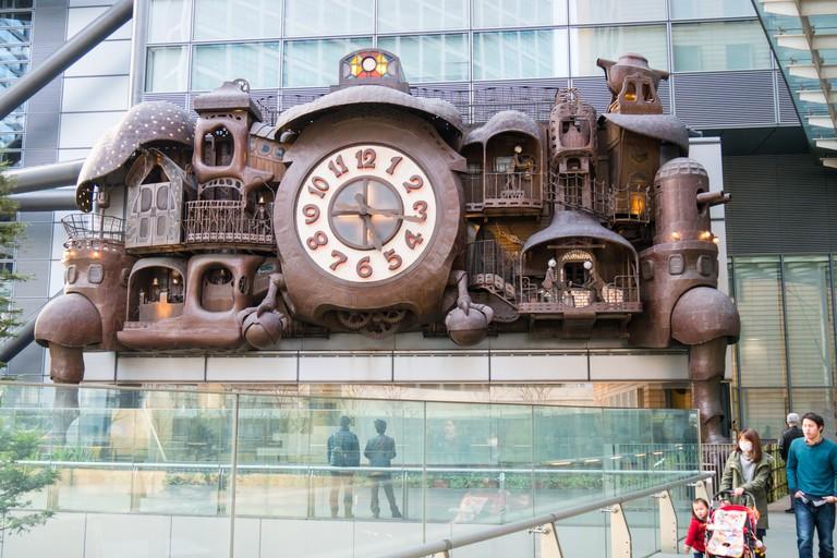 Clock designed by Studio Ghibli in Shiodome area, Tokyo.
