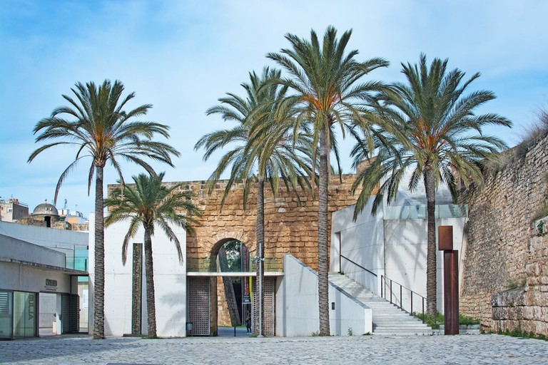 Exterior view of art museum Es Baluard with palm trees in Palma, Mallorca
