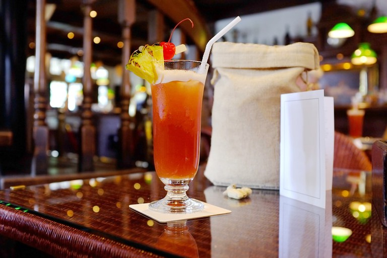 The Singapore Sling cocktail at Long Bar, Raffles Hotel
