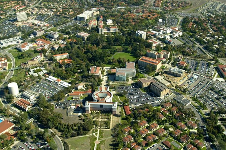 An aerial view of the University of California, Irvine and some of the city
