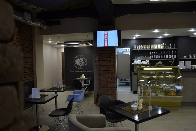 You'll find numerous types of coffee behind the counter here