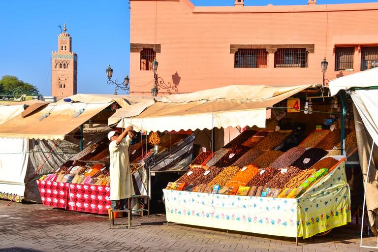 Jemaa el-Fnaa, Food stalls, Koutoubia Mosque, Marrakech
