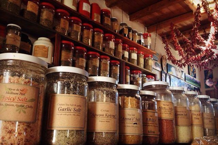 Assortment of spices and herbs at Botano, Kouses, Crete