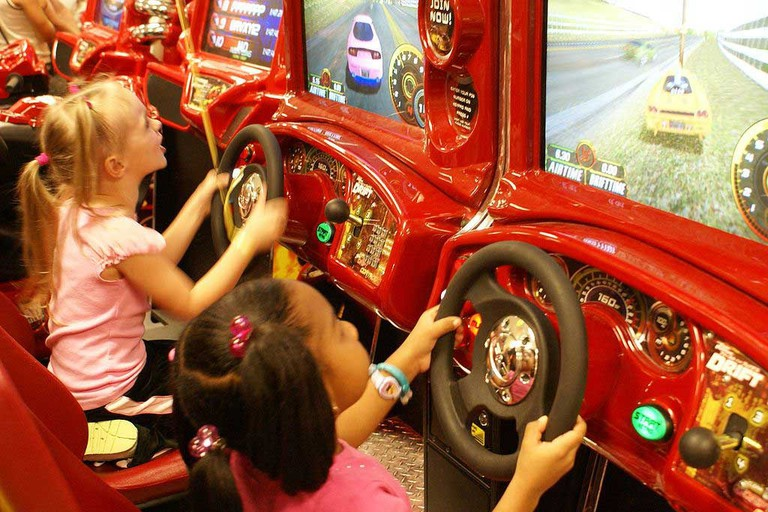 Children at an arcade.