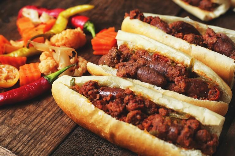 Beef sausage sandwiches