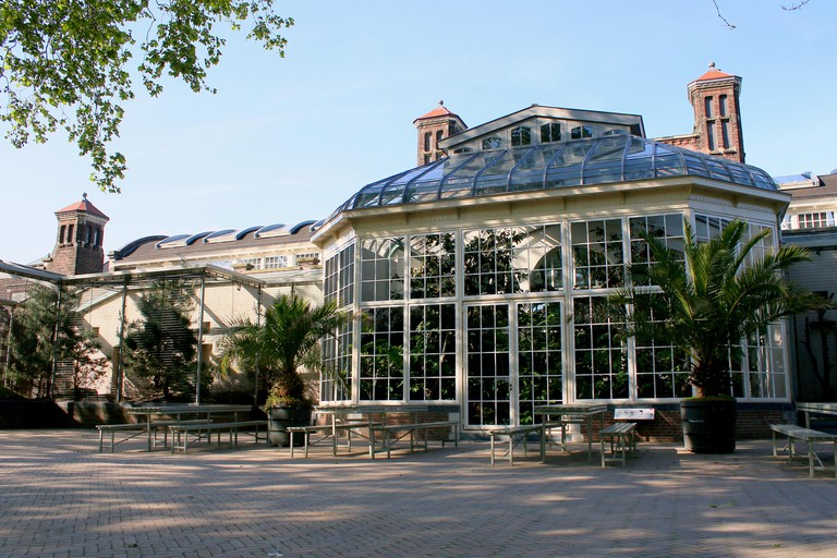 19th century greenhouses with exotic animals  in Artis Zoo Amsterdam, The Netherlands