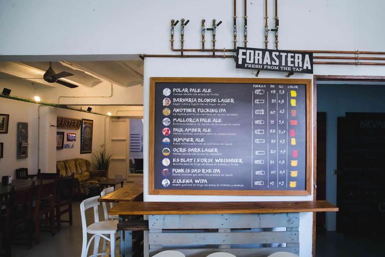 Forastera Taproom and Beer Menu