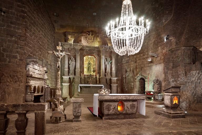 Wieliczka Salt Mine, The Chapel of St. Kinga, Cracow, Poland UNESCO. Image shot 2016. Exact date unknown.