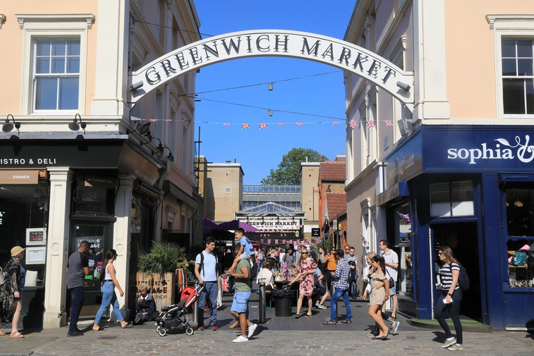 Historical Greenwich Market, set in a World Heritage site, in SE London, England, UK