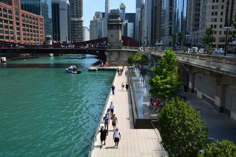 Looking down onto the Riverwalk in downtown Chicago on a warm summer day.