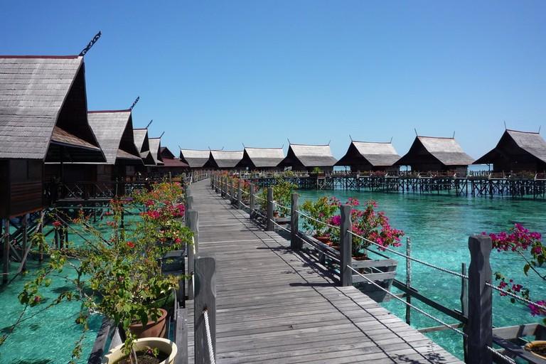 Water bungalows in Kapalai Island