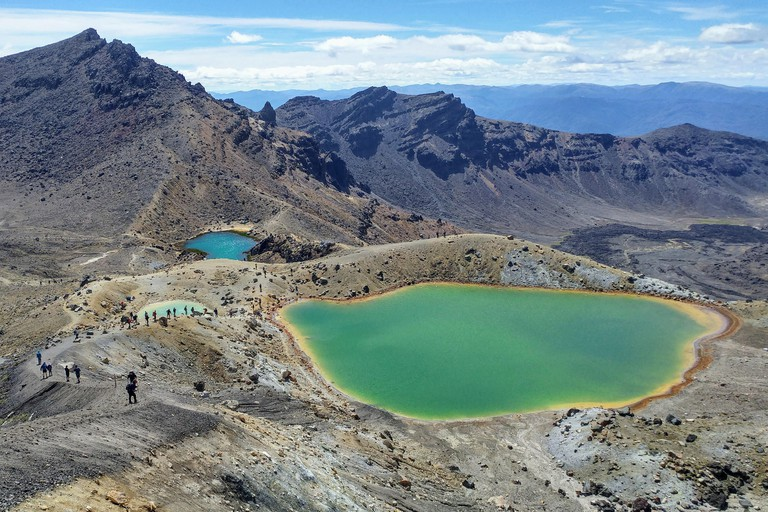 Volcanic landscape with many lakes, Tongariro Crossing in New Zealand