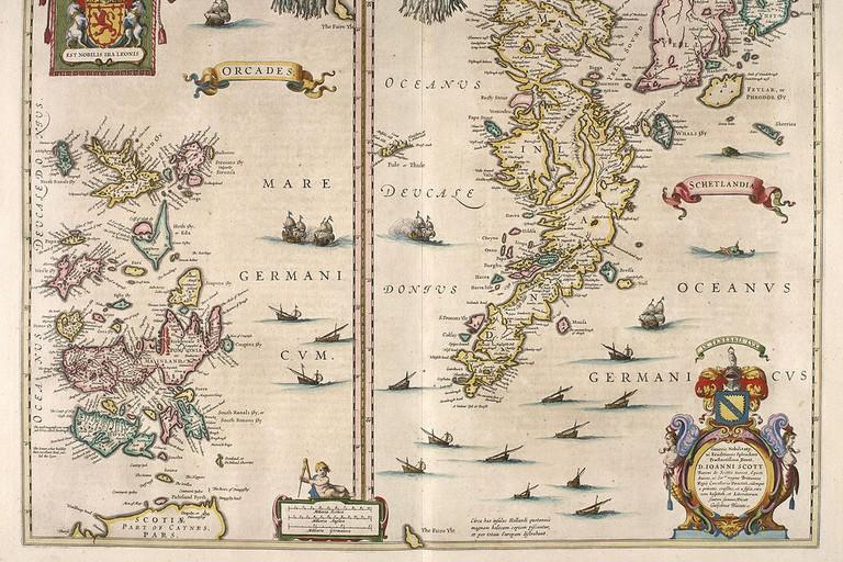 Map Of Orkney & Shetland c.1654