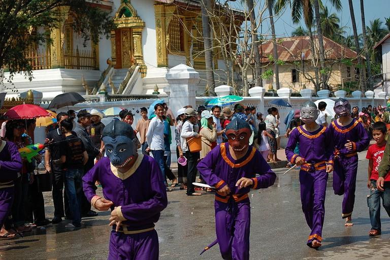 Lao New Year, parade of monkeys