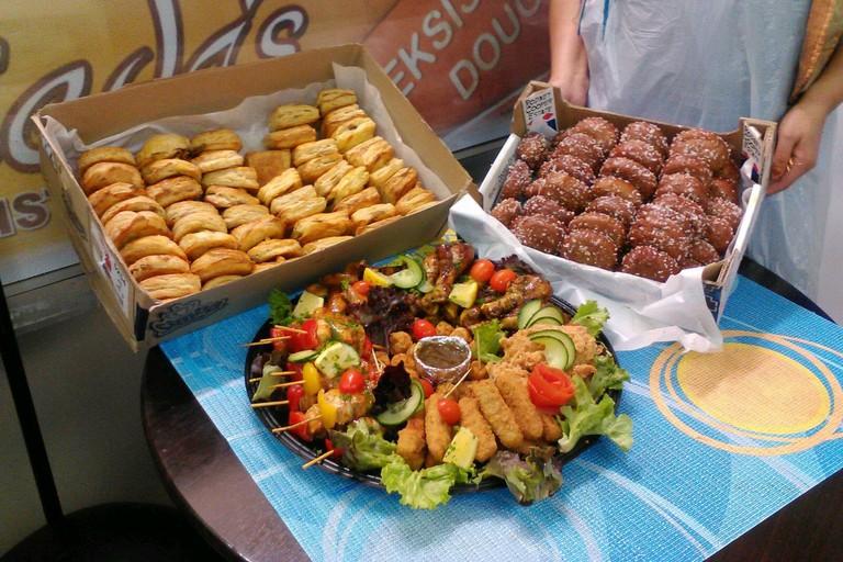 Snack platters, including koesisters, at Farieda's