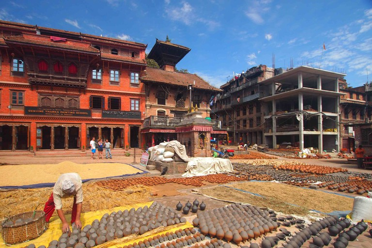 Pottery drying in the sun on Potters' Square, Bhaktapur