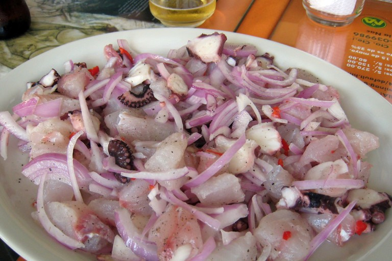 Wong's famous ceviche with sole and octopus