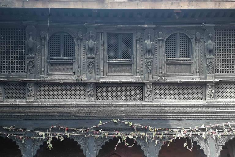 A decorative window at the Gorkha Durbar