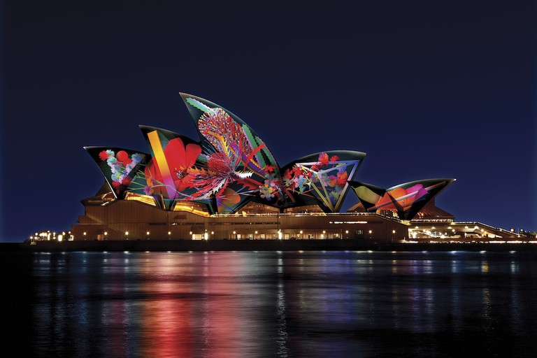 Artist's impression of 'Bouquet' by Jonathan Zawada at the Sydney Opera House © Vivid Sydney