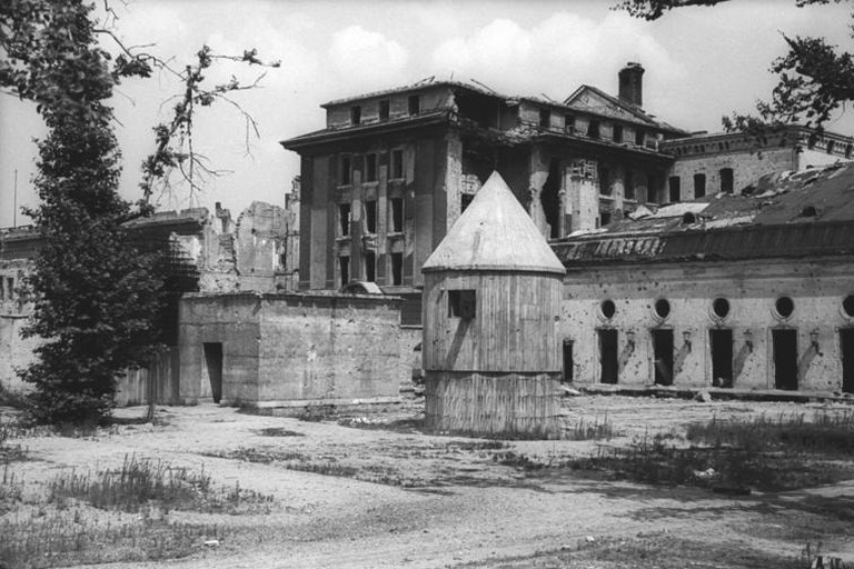 July 1947 photo of the rear entrance to the Führerbunker