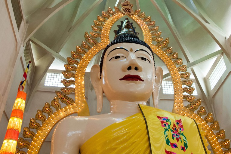 The 15 metre high statue of Buddha at the Sakya Muni Buddha Gaya Temple in Singapore