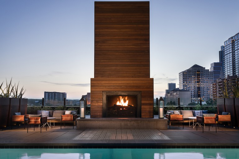 Pool with fireplace