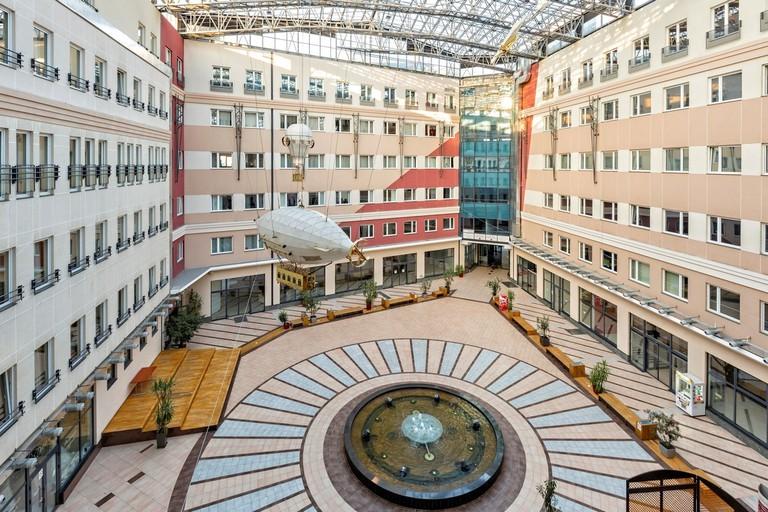 The magnificent atrium at Hotel Galleria
