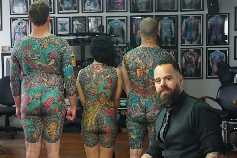 Kian Forreal with some of his traditional Japanese bodysuits © Authentink
