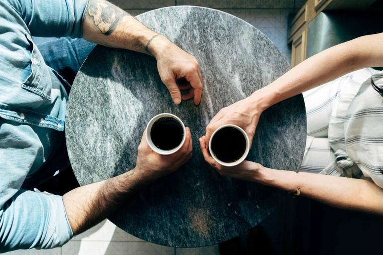 A couple having coffee