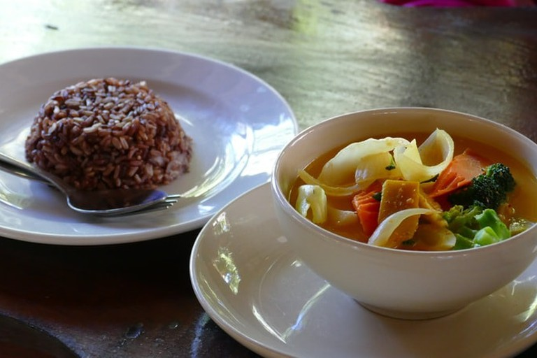 red rice and soup