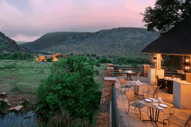 The restaurant overlooks the African plains
