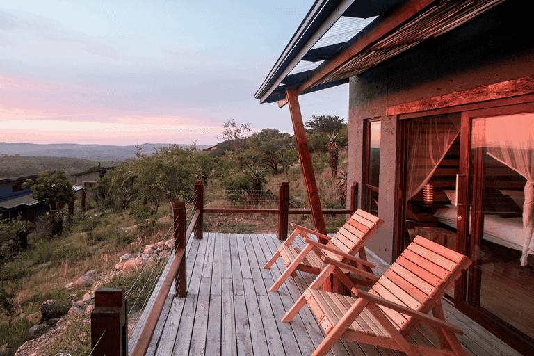 Each luxury bush villa has a large viewing deck