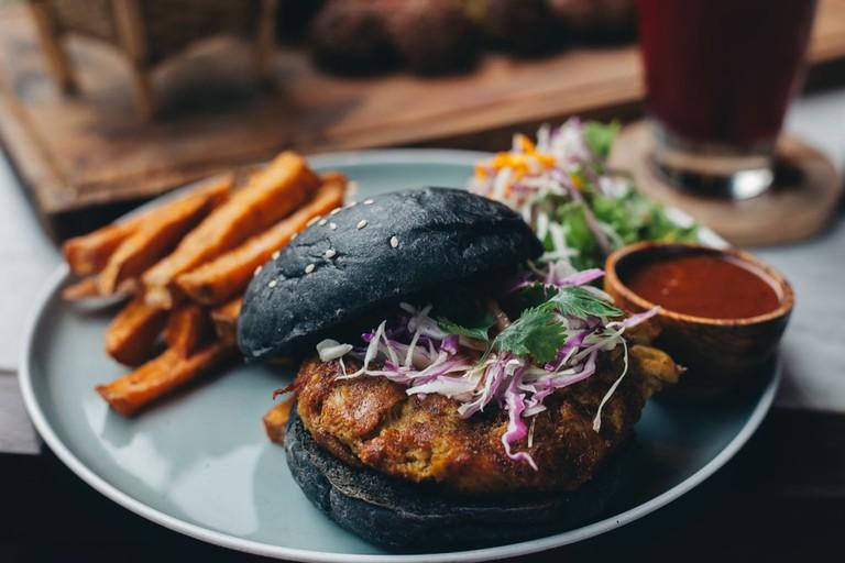 Charcoal black bun burger