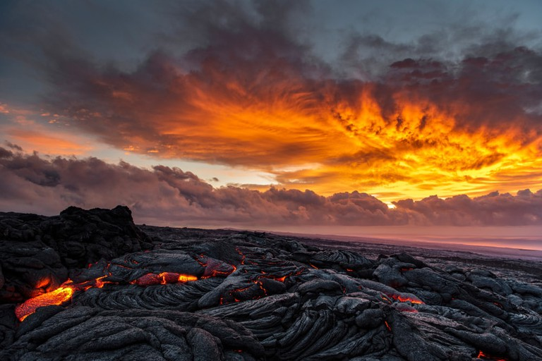 Lava on the southeast rift zone of Kilauea volcano