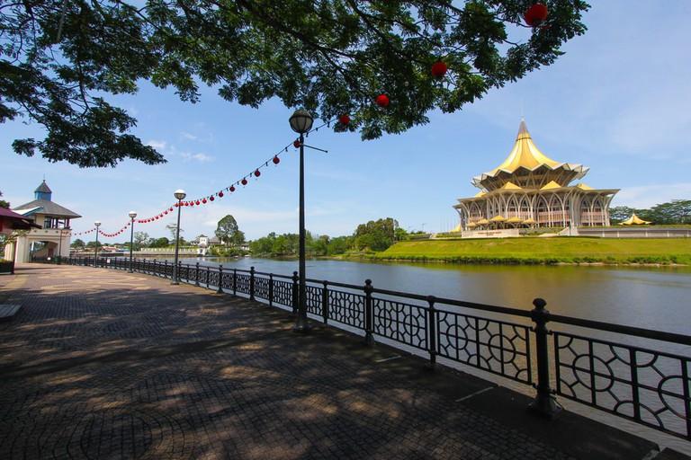 Kuching city waterfront walk in Sarawak, Malaysia