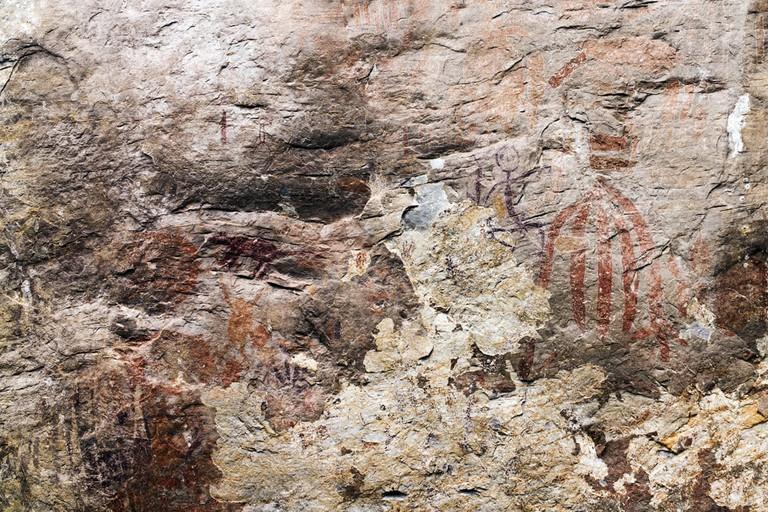 Neolithic cave wall paintings seen at Gua Tambun, Ipoh, Perak, Malaysia